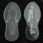 Glass soles etched with drawings from Freud animation