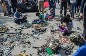 Kids take apart electronics